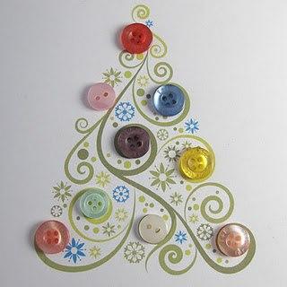 Árvore de Natal de Botão com botões colados em papel com desenho de fundo